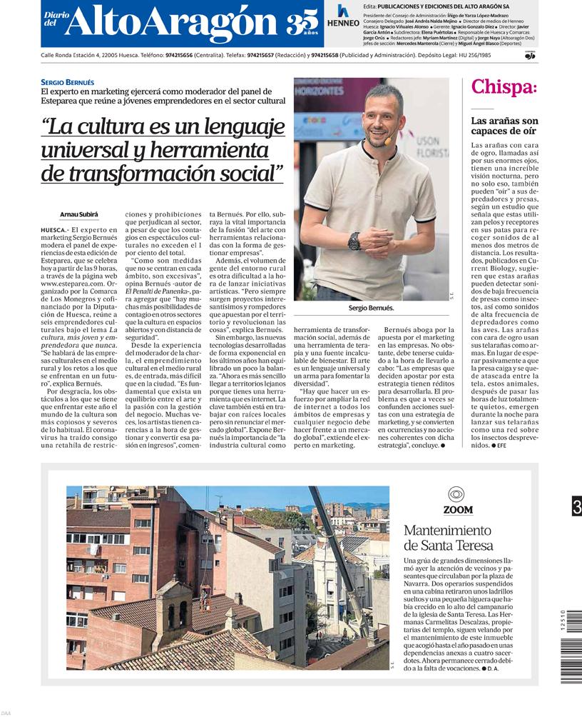 Contraportada del Diario del Altoaragón Sergio Bernués